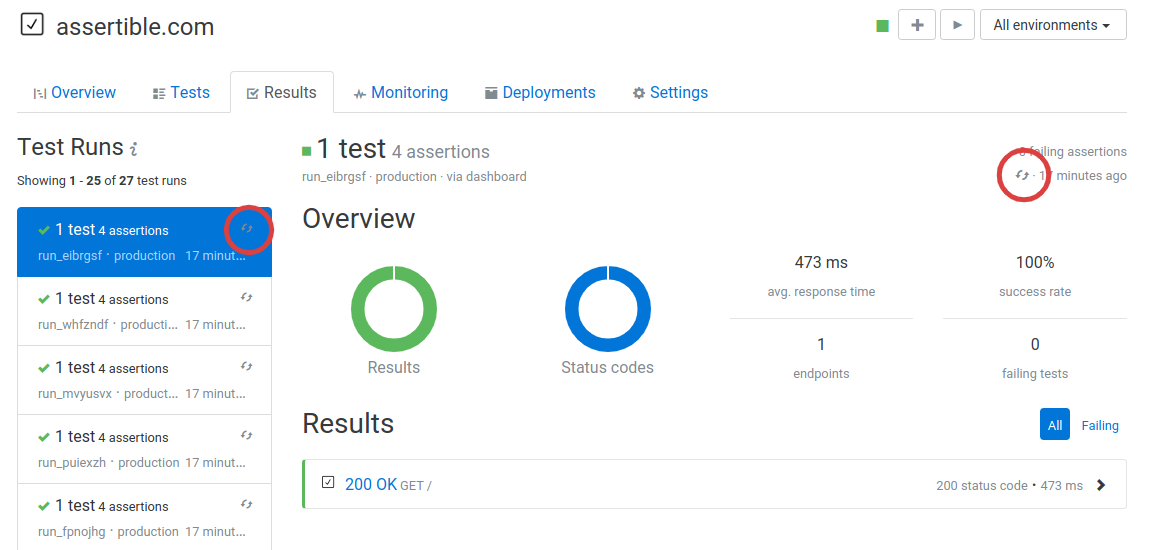 Viewing API test results in Assertible